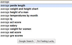 Average...penile length (really? and not penis length?), weight for women, height of men, iq, and temperatures.