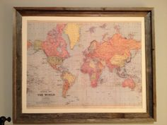 World map pin board diy ideas pinterest pin boards board and frame and mat a map of the world on cork boardeat way gumiabroncs Image collections