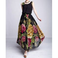 Plus Size Sleeveless Scoop Neck Floral Print Women's Dress