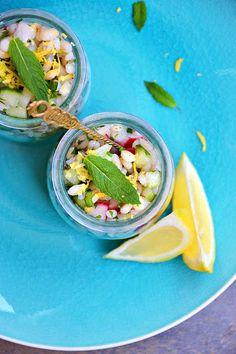 Sałatka z kaszą pęczak, zielonym ogórkiem i rzodkiewką Tacos, Mexican, Ethnic Recipes, Food, Diet, Essen, Yemek, Mexicans, Meals