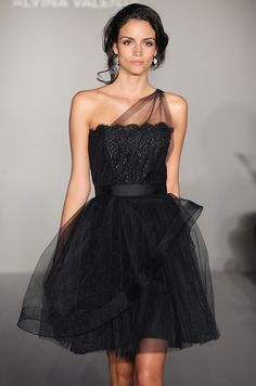 Black dress from Alvina Valenta for a bridesmaid or a daring bride. See more #wedding fashion: http://ccwed.me/KIp6ZC