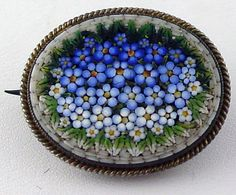 """Victorian Fine Micro Mosaic Pin with """"C"""" Clasp Gilt 800 Silver"""