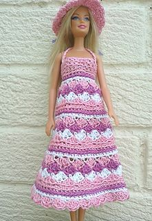 #Free Pattern; crochet; fashion doll/Barbie Summer dress and hat ~~