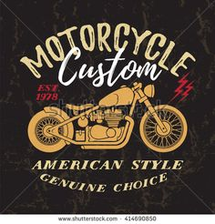Custom Motorcycle t-shirt graphic. Vintage typography design for tee or apparel.