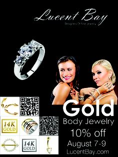 Low Price 14Kt Gold Body Jewelry: http://lucentbay.com/ - Lucent Bay has extremely high quality 14k Yellow Gold and 14k White Gold body jewelry available. Our gold items are very luxurious, hand-crafted body jewelry pieces that glimmer with the subtle luster of one the most expensive elements known to man. Choose from various styles in our great selection such as gold barbells, horseshoes, captive bead rings, eyebrow curves, nose rings and navel rings.