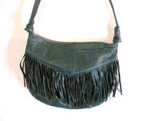 Vintage forest green leather fringe purse by dirtybirdiesvintage, $34.00