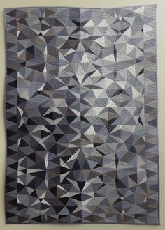"EZ Triangle Challenge – 3rd Place QuiltCon 2016 Facets Pieced & quilted by Katherine Jones Tasmanian MQG 25"" x 37"""