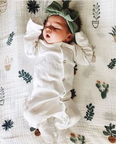 Lounging in her mini botanical garden! /danneinkk/ Prickle Pot Swaddles restocked & shipping tomorrow! http://spearmintLOVE.com link