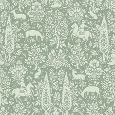 Crown Wallcoverings Woodland Wallpaper Green. The woodland wallpaper collection features traditional woodblock effect patterns in this enchanting forest design from circa 1850, telling a compelling story. This wallpaper is suitable for all living areas, including the kitchen and bathroom.