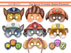 Unique PAW Patrol Printable Masks,party masks,birthday,decoration,invitation,Ryder,Chase,Skye,Rocky,Zuma,Rubble,costume,photo props,Disney на Etsy, $8.75