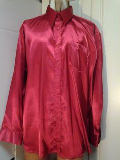 Henri Valdise Shiny Red Size 17/17.5  XL 100% Polyester Long Sleeve  #HenriValdise