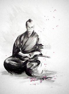Samurai Kunstdruck Kirschblüten-Niederlassungs-Bild von SamuraiArt