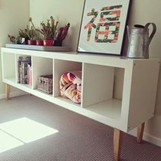 Perfect Place for Vinyl disks :) Ikea hack: expedit bookcase with staibed legs from Bunnings makes for a lovely low shelf. Living Tv, Condo Living Room, Living Room Decor, Expedit Bookcase, Ikea Units, Kallax Regal, Diy Casa, Hallway Designs, Ikea Furniture