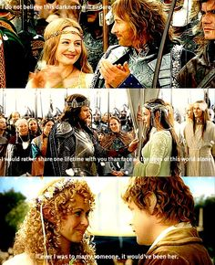 <3 I have to say, Eowyn and Faramir are my favorite EVER. Aside from Katniss/Peeta, and Han/Leia, and Luna/Neville (even if that one's not canon).