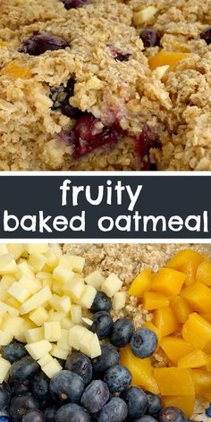 Fruity Baked Oatmeal Baked Oatmeal Breakfast Recipe Baked Oatmeal With Quick Oats, Fresh Blueberries, Peaches, And Diced Apple. Improved With Brown Sugar And Contains 3 Entire Cups Of Oatmeal. Warm, Comforting And Can Be Eaten For Breakfast Or A Snack. Breakfast Dishes, Healthy Breakfast Recipes, Brunch Recipes, Gourmet Recipes, Baking Recipes, Vegan Breakfast, Breakfast Casserole, Eat Healthy, Recipes With Oatmeal Breakfast