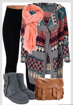 Winter Outfit With Oversized Cardigan.I like the boots but this outfit would look a little better with some light brown leather boots:) Looks Style, Looks Cool, Style Me, Fashion Moda, Look Fashion, Fashion Women, Teen Fashion, Cheap Fashion, Catwalk Fashion