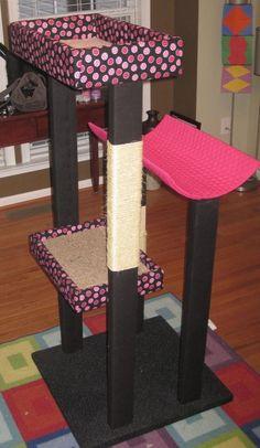 DIY cat tower... But no instructions. Just the idea, concept