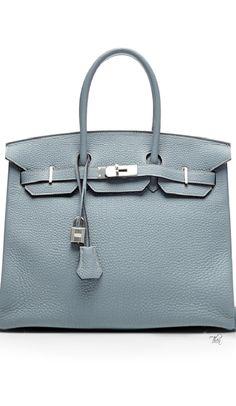 Vintage Hermes ● 35Cm Blue Lin Clemence Birkin