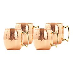The Old Dutch 16 oz. Hammered Solid Copper Mule Mug is made of nickel-lined solid copper with solid brass handles. It comes with tarnish resistant lacquer coating to preserve beauty and luster. It is convenient to clean with warm soap water. Copper Moscow Mule Mugs, Copper Mugs, Hammered Copper, Copper Nickel, Antique Copper, Star Wars, Thing 1, Up House, Brass Handles