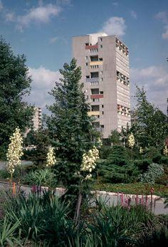 "German Post-War Modern  Apartment Building designed for the international building exhibition ""Interbau"" in 1957 in Berlin, Germany, by Van den Broek & Bakema"