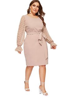 The lightweight, patterned sleeves add just the right amount of pizazz to a classic pencil dress. This style comes in seven color options, but this dusty pink is a wear-anytime shade we love. #weddingguestdress #weddingguestoutfit #rehearsaldinnerdress #dressestoweartoawedding #southernliving Midi Dress With Sleeves, Belted Dress, Plus Size Dresses, Dresses For Work, Modest Dresses Casual, Rehearsal Dinner Dresses, Curvy Dress, Spandex Dress, Spandex Fabric