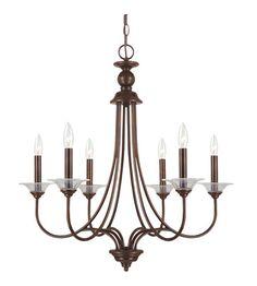 250 Sea Gull Lighting Lemont 6 Light Chandelier in Burnt Sienna 31318-710 #lightingnewyork #lny #lighting