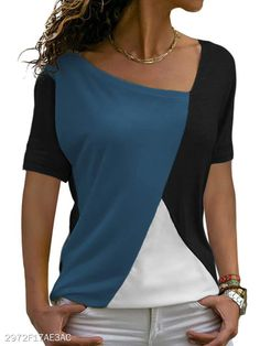 Asymmetric Neck Patchwork Color Block Short Sleeve T-Shirts - berrylook.com Casual T Shirts, Casual Outfits, Jeans Outfit For Work, Long Sleeve Tee Shirts, Casual Tops For Women, Casual Winter, Outfit Winter, Plus Size Tops, Shirt Style