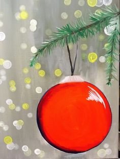 Blurry lights - How To Paint An Ornament With Blurry Lights Tracie's Canvas Tutorials – Blurry lights Canvas Board Painting, Diy Painting, Painting Snow, Red Ornaments, Painted Ornaments, Wooden Ornaments, Diy Christmas Light Decorations, Blurry Lights, Christmas Paintings On Canvas