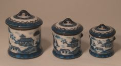 Miniature Blue Canton Canister Set in 1/12 scale by Christopher Whitford
