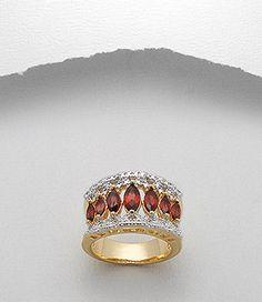 Inel placat cu aur cu pietre semipretioase granate 32-1-i3217G :: Inele placate cu aur :: Bijuterii placate cu aur :: SilverZone.ro
