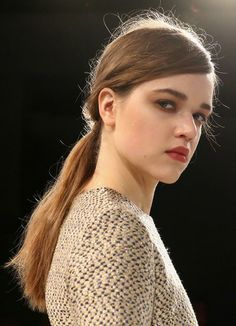 We love the low-slung ponytail seen at the Rebecca Vallance show. #fashionweek #ponytail #beauty