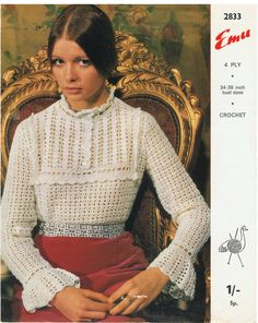 A vintage EMU Crochet Pattern For retro Classic Blouse 4 ply 34 to 38 inch bust sizes This is a Digital Download Instant Pattern (PDF )