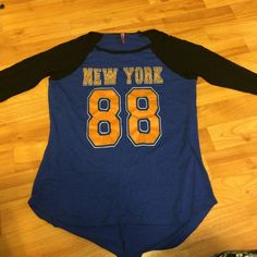 """RUE 21 blue and black jersey shirt!! Has """"New York"""" and """"88"""" on the front just simply don't want it only worn like once  Rue 21 Tops Tees - Long Sleeve"""