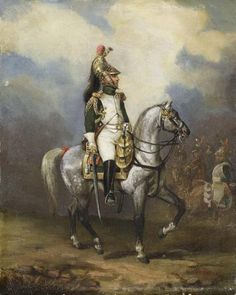 Ein Französischer Dragoneroffizier unter Napoleon I vor der Front.