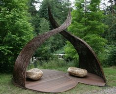 Seed Sitting : A garden structure concept by Spencer Jenkins was a highly recommended winner by the RHS. Outside Living, Outdoor Living, Outdoor Decor, Landscape Art, Landscape Design, Willow Garden, Pergola, Japanese Garden Design, Garden Architecture