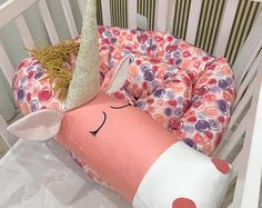 Baby crib bumper PINK&LILAC UNICORN Pillow Handmade, Baby Bed Bumper, Baby Shower Present