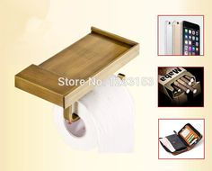 high quality brass bathroom rack  antique paper frame cell phone holder copper roll stand commodity shelf #Affiliate