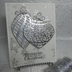 Delicate Ornament by stamperdianne - Cards and Paper Crafts at Splitcoaststampers Embellished Ornaments, Holiday Fancy Foil Vellum, Thick Whisper White, Silver Glimmer, Silver Foil Christmas Cards 2018, Homemade Christmas Cards, Noel Christmas, Xmas Cards, Homemade Cards, Handmade Christmas, Holiday Cards, Christmas Lights, Christmas Music