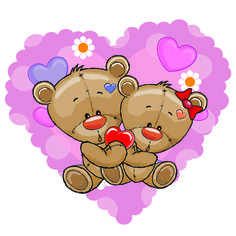 Teddy bear with red heart vector cards 03