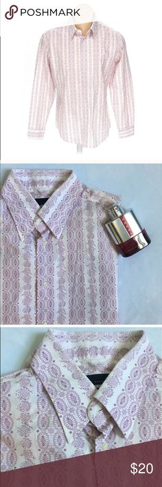 Zara Man Button Down Shirt White button down shirt with pale purple/pink design. Size XL. Excellent condition, no flaws. Zara Shirts Dress Shirts