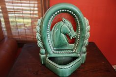 Vintage TV Horse Lamp Green Ceramic TV Lamp by MadGirlRetro