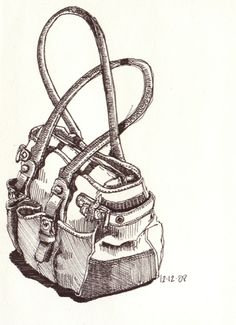 I actually asked a student if I could draw her purse today.  First, she gave me a bit of a worried look but smiled when I showed her what I had done afterwards.  Pigma Micron 05 in my soon-to-be-finished sketchbook.