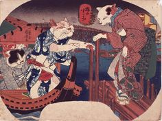 Artist: Utagawa Kuniyoshi 歌川国芳Title: Cats Enjoying the Evening Cool 猫のすずみ