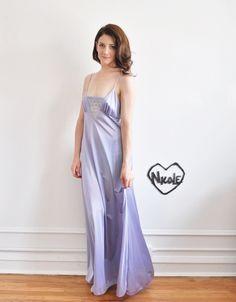 lavender nightgown set . peignoir and slip dress от DOTTO на Etsy