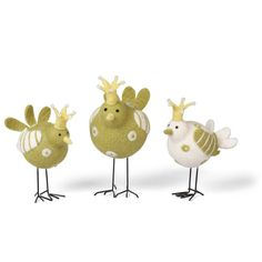 This set of wool birds are great for spring. Tuck them in a bookshelf or use them on a tray with green plants and votives. They feature crowns with bead accents and metal legs. 8