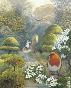 "Robins, love this enchanting story - Illustration by Inga Moore, ""The Secret Garden"".Love Robins, love this enchanting story - Illustration by Inga Moore, ""The Secret Garden"". The Secret Garden, Secret House, Garden Illustration, Children's Book Illustration, Book Illustrations, Garden Drawing, Garden Art, Garden Ideas, Fantasy Kunst"