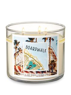 Boardwalk Candle - Bath And Body Works 3 Wick Candles, Best Candles, Scented Candles, Candle Jars, Yankee Candles, Fall Candles, Candy Themed Bedroom, Bath And Body Works Perfume, Candle In The Wind