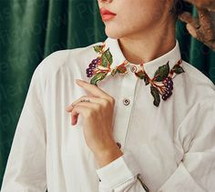 Fine Art Collection white floral spring blossom by PurpleFishBowl Lady Like, Moda Fashion, Womens Fashion, Fashion Fashion, Creative Shirts, Fashion Details, Fashion Design, Collar Designs, Embroidered Clothes