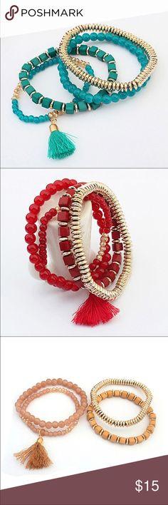 3 Colors Multilayer Bracelets Gorgeous 4 Pcs Boho Style Multilayer Beaded with Tassel. Elastic Charm Bracelets Jewelry Bracelets