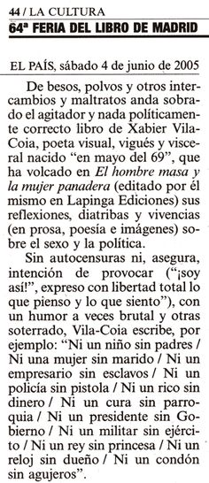 Reseña en el diario El País (4-6-2005)